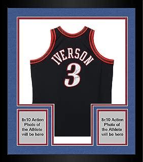 Framed Allen Iverson Philadelphia 76ers Autographed Mitchell & Ness 00-01 Black Swingman Jersey with