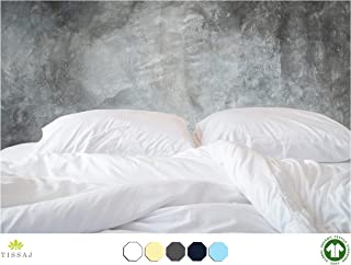 Tissaj 500-Thread-Count Organic Cotton Duvet Cover – 500TC Queen & Full Size Ultra White Color – for Bedding - 100% GOTS Certified Extra Long Staple, Soft Sateen Weave Finish - Luxury Collection