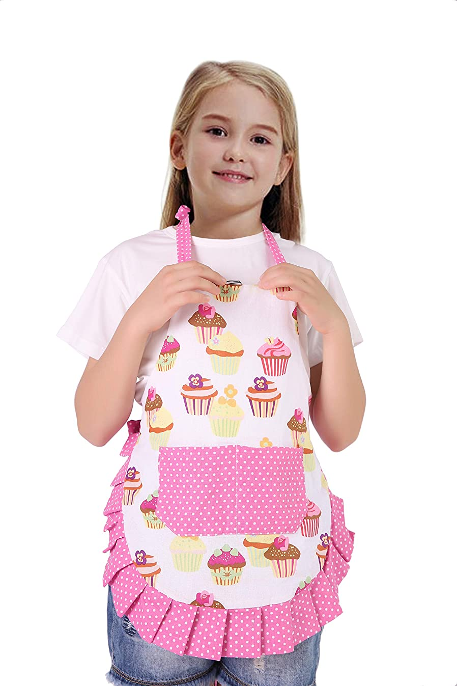 Cotton Fabric Kid Girl Apron Floral Gardening Child Apron With 2 Pockets For Cooking and Baking(Pink Cupcake)
