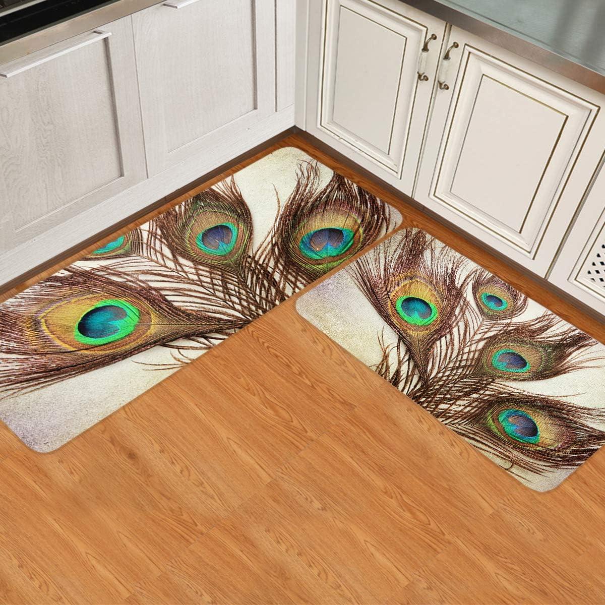 Olivefox Non-Slip Memphis Mall Bargain Modern 2 Pieces for Decor Mats Laundry Kitchen