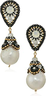 Miguel Ases Beaded Cap Freshwater Pearl Black and White Contrast Post Teardrop Earrings