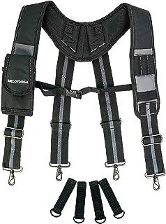 Melo Tough Tool Belt Suspenders Construction Work Suspenders with detachable phone holder comfortable foam shoulder padder...