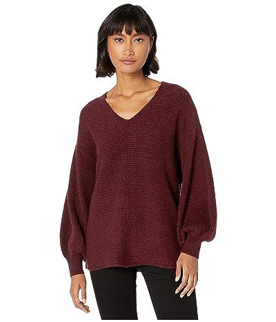 1.STATE V-Neck Bubble Sleeve Sweater (Mahogany) Women