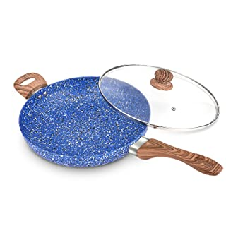 MICHELANGELO Nonstick Frying Pans, 12 Inch Frying Pan with Lid & Nonstick Stone-Derived Coating, Granite Frying Pan, 12 Inch Skillets with Lid, Stone Pan Nonstick, Granite Rock Pan, Induction Ready