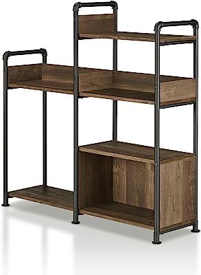 247SHOPATHOME Symone Metal Pipe Bookshelf, Brown