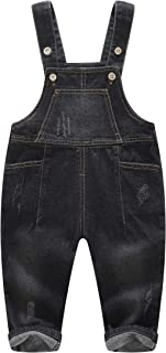 Cute Baby Toddler Blue Black 5 Pockets Bibs Ripped Jeans Overall