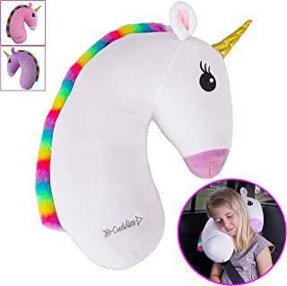 Unicorn Travel Pet by Cuddles  Seat Belt Pillow for Kids  White Car Seat Belt Pillow for Travel  Seatbelt Pillow for Kids  Washable Headrest Cushion Cover for Sy Strap & Booster Seats for girlsafet
