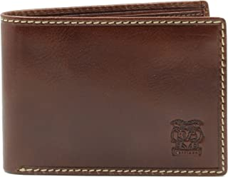 CAPPIANO Mens Genuine Leather 2 Section Minimalist Shirt Pocket Wallet With Large ID