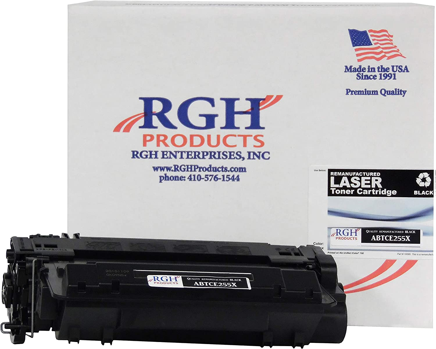RGH Products Remanufactured Toner Cartridge ABTCE255X Tray Toner Cartridge Replacement for HP CE255X Printer Black