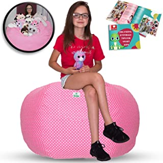 Kroco Stuffed Animal Storage Bean Bag Cover - Toy Beanbag Storage Chair - Toddler Bedroom- Replace Toys Boxes, Hammock, Ottoman, Net for Kids Room- Store Costume Kid, Blanket/Pillow Too - 38´´ Pink