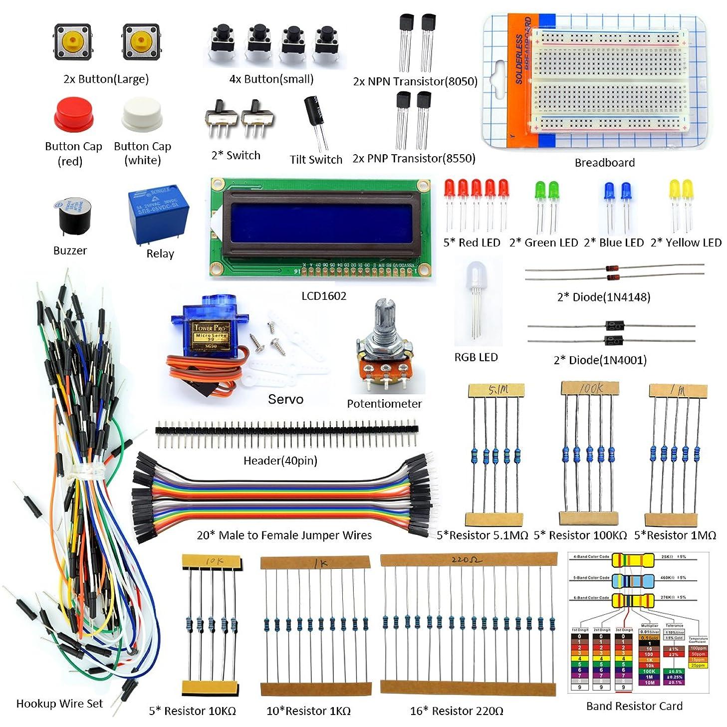Adeept Project 1602 LCD Starter Kit for Raspberry Pi 3, 2 Model B/B+ Servo Relay LCD1602 Beginner/Starter Kit for Raspberry Pi with PDF Guidebook/User Manual