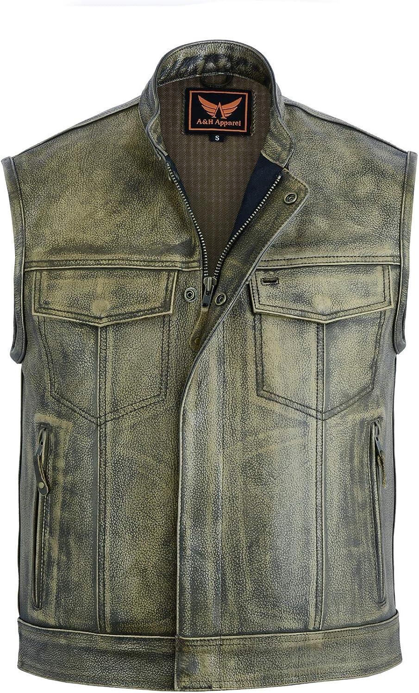AH Apparel Mens Genuine Inexpensive Cowhide Special sale item Conceal Leather Biker Vest