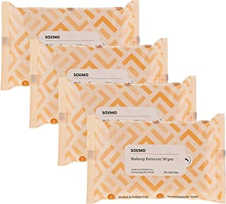 Amazon Brand - Solimo Makeup Removal Wipes - 30 wipes/pack (Pack of 4)