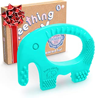 Sponsored Ad - Baby Teething Toys - BPA Free Silicone Toy - Cute, Easy to Hold, Soft and Highly Effective Elephant Teether...