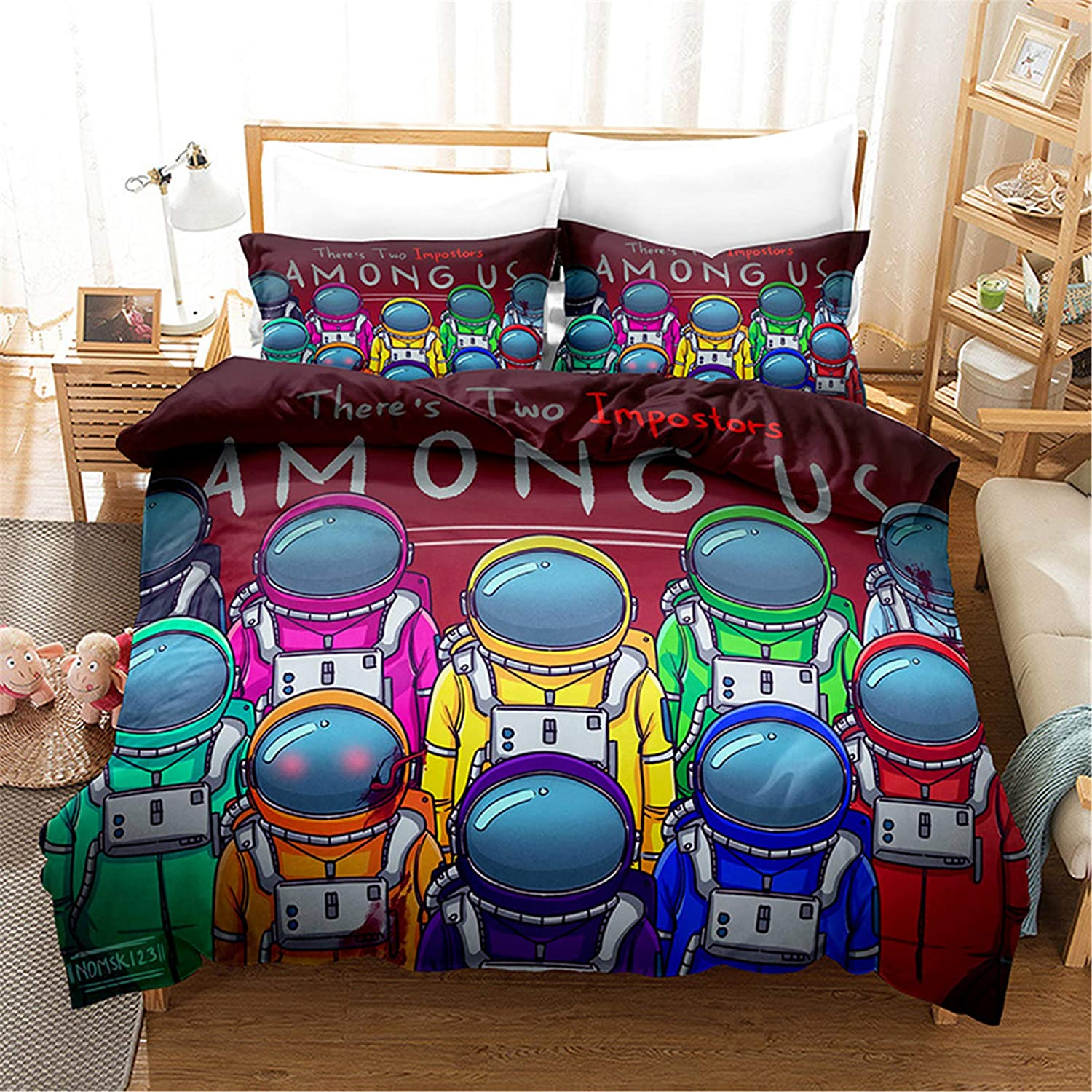 Ntioyg 3D Among 値引き US 上品 Cartoons Kids Duvet S Sets Cover Bed Pieces 2