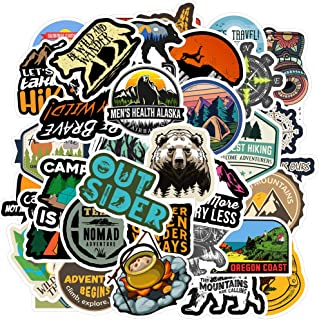 Outdoors Hiking Camping Travel Adventure Stickers,50pcs Vinyl Decals Stickers for Water Bottles Laptop - Waterproof - [No-Duplicate Sticker Pack]