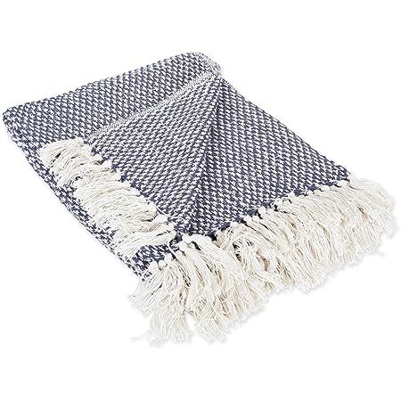 48\u201d x 72\u201d Hand Braided Finish Neon Blues Throw Blanket