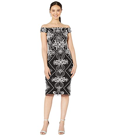 Adrianna Papell Contrast Beaded Off Shoulder Cocktail Sheath Dress (Black/White) Women
