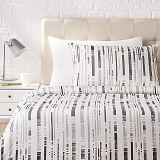 Amazon Basics - Juego de ropa de cama con funda de edredón, de satén, 135 x 200 cm / 50 x 80 cm x 1, Gris a rayas texturizado
