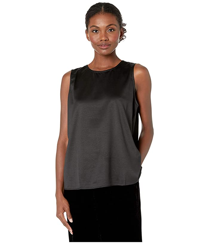 Eileen Fisher  Recycled Polyester Satin Round Neck (Black) Womens Clothing