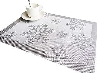 RIMOBUL Winter Snowflake Woven Vinyl Placemat, Set of 6 (Snow-Silver)