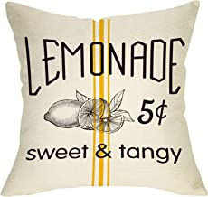 Fbcoo Summer Farmhouse Decorative Throw Pillow Case Lemonade Sweet Tangy Decoration Lemon Sign Cushion Cover Home Decor 18 x 18 Inch Cotton Linen for Sofa Couch
