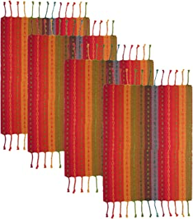COTTON CRAFT - 4 Pack Salsa Stripe Hand Knotted Fringe Placemats - 13x19 - Red Multi - 100% Cotton - Hand Woven by Skilled...