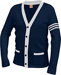 Averill's Sharper Uniforms Unisex 5-Button V-Neck with Contrasting Trim Varsity Cardigan