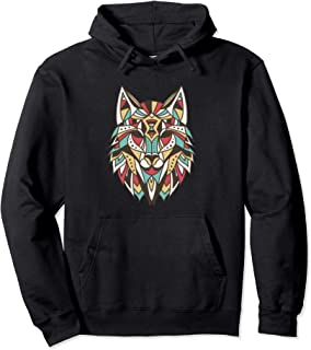 Retro Abstract Geometric Polygonal Shape Wolf Pullover Hoodie