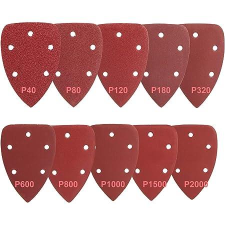 40 unidades de hojas de lijaASD01C de Tacklife grano 40//80//120//240 140 x 140 x 100 mm para lijadoras delta para pulido y eliminaci/ón de /óxido 10 piezas de cada uno con 5 orificios con velcro