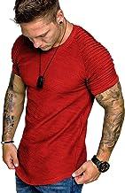 COOFANDY Men's Muscle T-Shirt Pleated Raglan Sleeve Bodybuilding Gym Tee Short Sleeve Fashion Workout Shirts Hipster Shirt