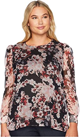Plus Size Puff Shoulder Long Sleeve Timeless Blooms Floral Blouse