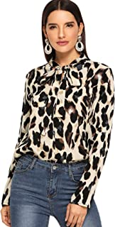 Floerns Women's Bow Tie Neck Leopard Print Long Sleeve Shirt Blouse Tops