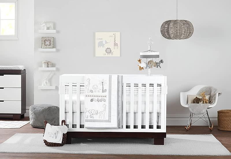 Just Born Animal Kingdom 3 Piece Crib Bedding Set Safari Jungle Neutral