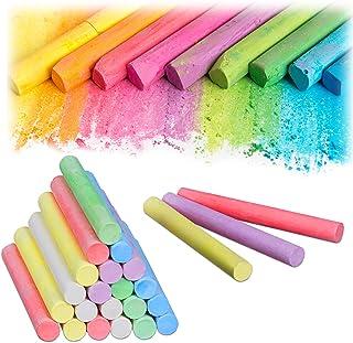 Relaxdays 10024329 Lot de 24 craies pour tableau et rue 6 couleurs pour enfants et enseignants Multicolore Ø 9 mm