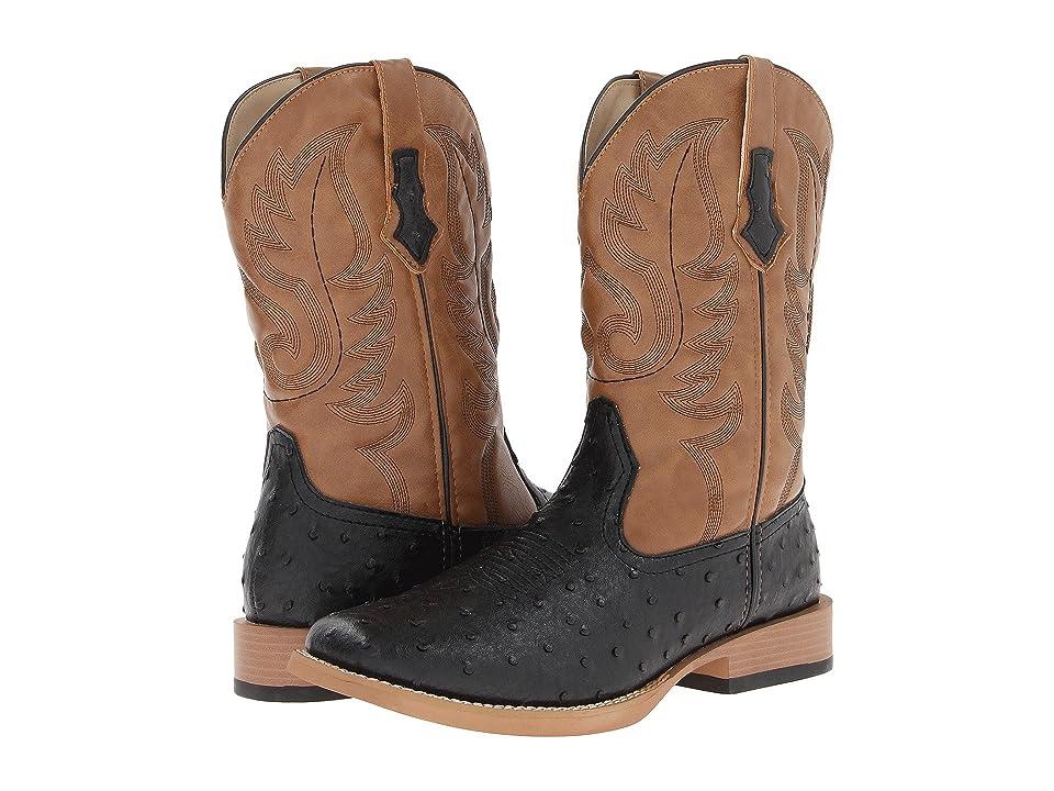 Roper Ostrich Print Square Toe Cowboy Boot (Black Faux Leather/Western Stitch) Cowboy Boots