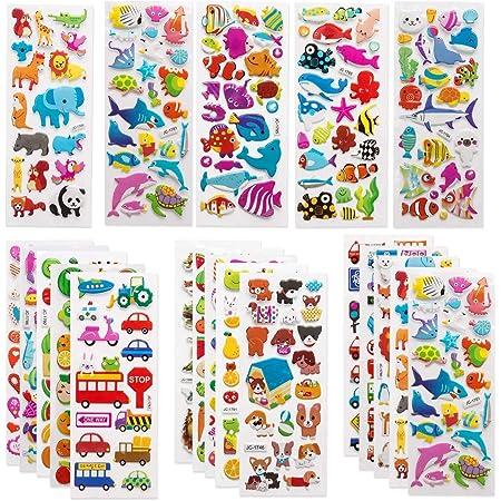 子供&幼児シールふわふわシールかわいい海外デザイン大量の 1200 個以上3Dテッカー 手帳日記 知育 褒美用 アニメ、恐竜、魚、車、小動物、果物(40枚) バラエティパック 商品名称