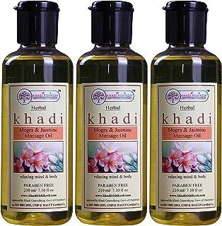 Khadi Rishikesh Herbal Mogra & Jasmine Massage Oil Combo Set Pack Of - 210ml X 3 (630ml)