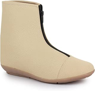 NAISHA Women's Synthetic Leather Boots, Comfortable Stylish & Light-Weight (Cream)