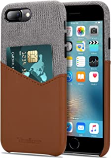 Tasikar Compatible with iPhone 8 Plus Case/iPhone 7 Plus Case Card Holder Slot Wallet Case Premium Leather and Fabric Desi...