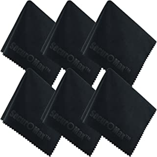 SecurOMax Black Microfiber Cleaning Cloth 10x10 Inch, 6 Pack