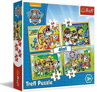 trefl Puzzle 4 en 1 modèle Paw Patrol 35-48-54-70 pièces, 34307, Multicolore