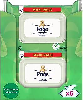 Page Vochtig Toiletpapier - Aloë Vera Maxipack - 456 Stuks - 6 x 76 Stuks - Voordeelverpakking