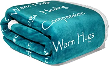 Compassion Blanket - Strength Courage Super Soft Warm Hugs Get Well Gift Blanket. Plush Healing Support Positive Energy Love & Hope with Soft Fluffy Comfort Cancer Patient- Teal (50