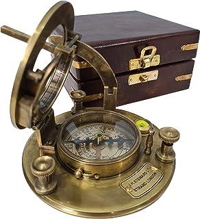 كوليكتيبلز اشترِ عتيق J.H. بوصلة مغناطيسية اتجاهية من النحاس الصلب من ستيوارت ستراند لندن مع صندوق تخزين خشبي