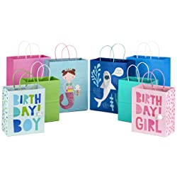 Hallmark Paper Gift Bags Assortment for Kids' Birthdays or Any Occasion (Pack of 8, 4 Medium and 4 L
