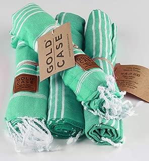 Gold Case Small Peshtemal Set of 4 Turkish Bath Spa Yoga Tea Towel for Hand Face Kitchen 20x40 100% Cotton Green