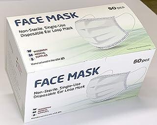 WMS Wisconsin Medical Supplies, 3-Layer Ear Loop Face Masks, 1 Pack (50 PCs)