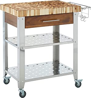 Chris & Chris Rolling Kitchen Island - Food Prep Table with Durable Cutting Surface, Juice Groove & Collection Pan - Includes Storage Drawer, 2 Stainless Steel Shelves, Spice Rack, Acaia Wood