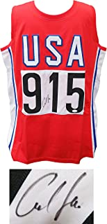 Carl Lewis Signed USA Track & Field Red Custom #915 Jersey (JSA) - Autographed Olympic Jerseys